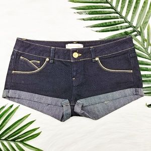Topshop | low-rise rolled cuff shorts, gold trim